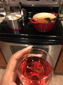 The recipe says to add wine